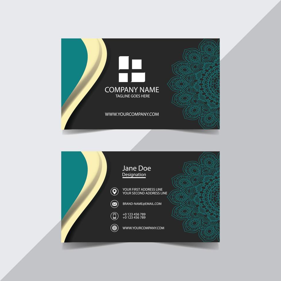 blaugrün und grau Mandala Visitenkarte Vorlage vektor