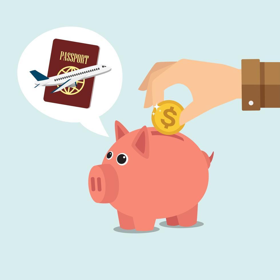 Saving money for travel in piggy bank concept vector
