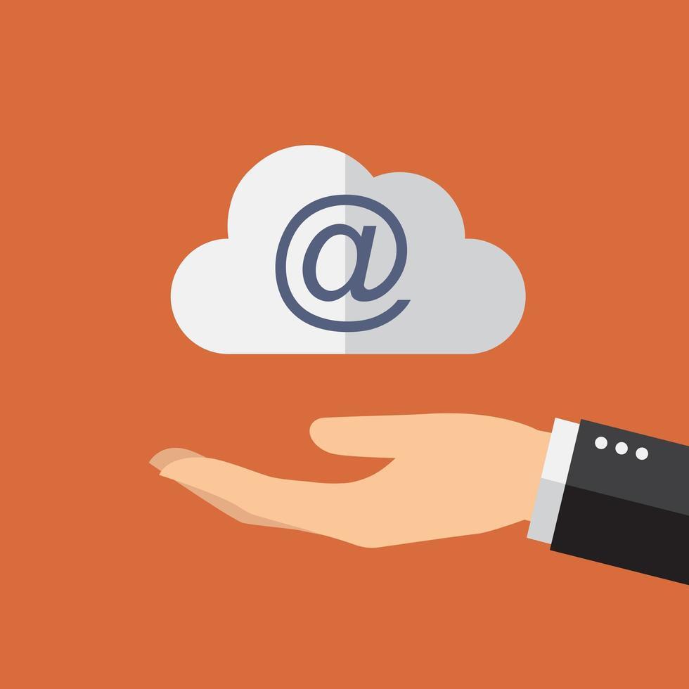 main tenant le symbole du cloud computing vecteur