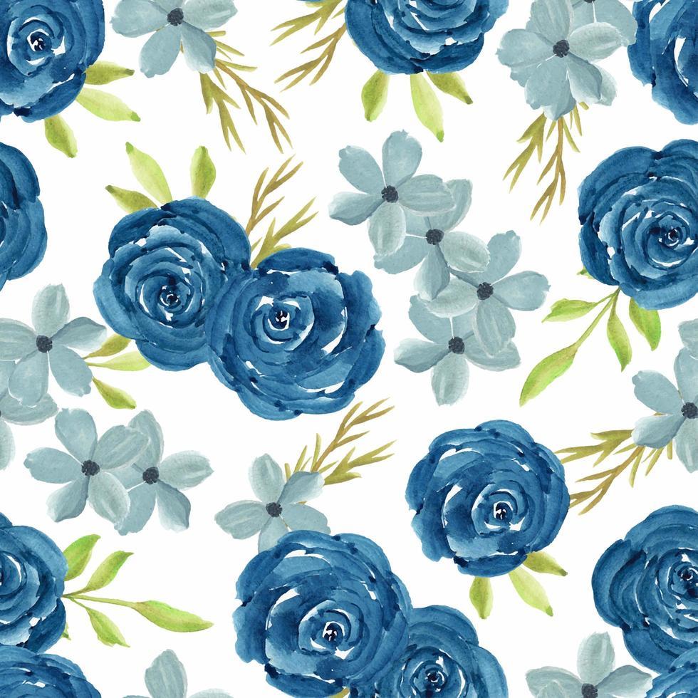 aquarelle transparente motif floral avec des roses bleu marine vecteur