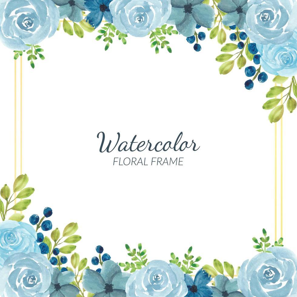 décoration de cadre floral bleu aquarelle vecteur