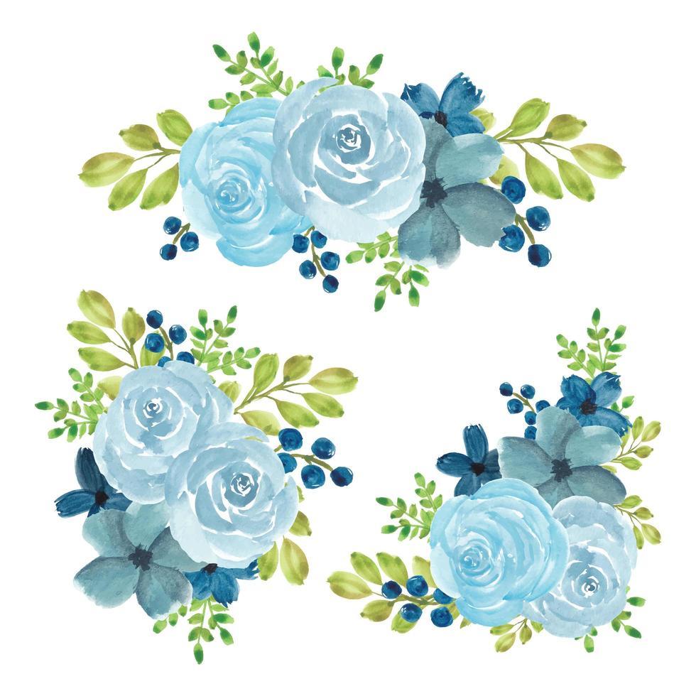 aquarel blauwe roos bloemboeket set vector