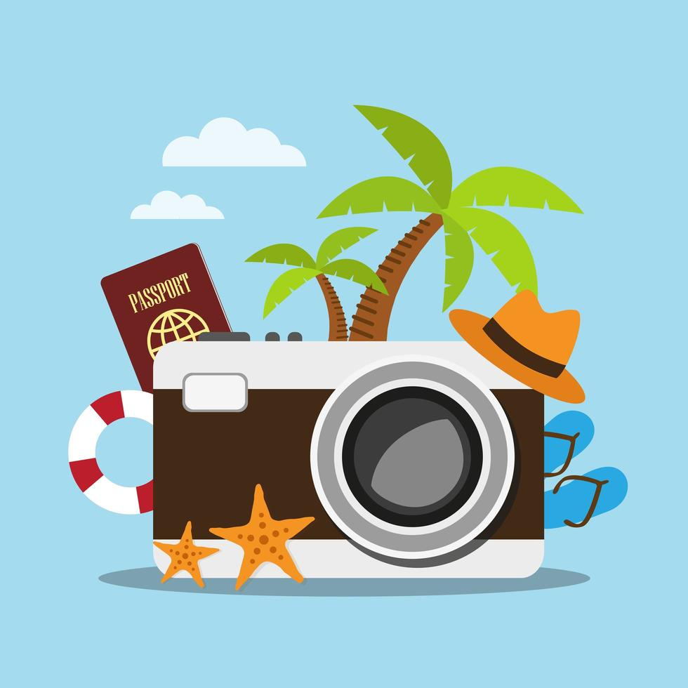 Big camera with travel accessories vector