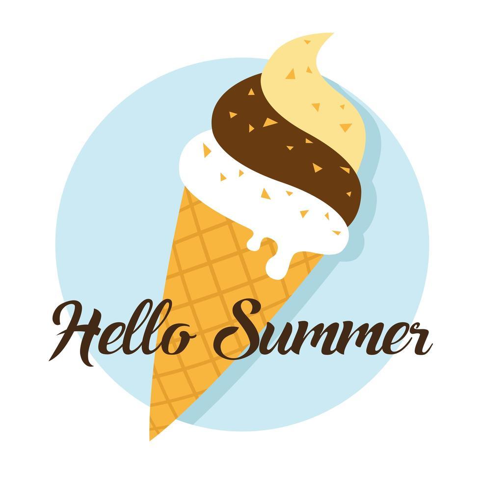 Hello summer and ice cream vector