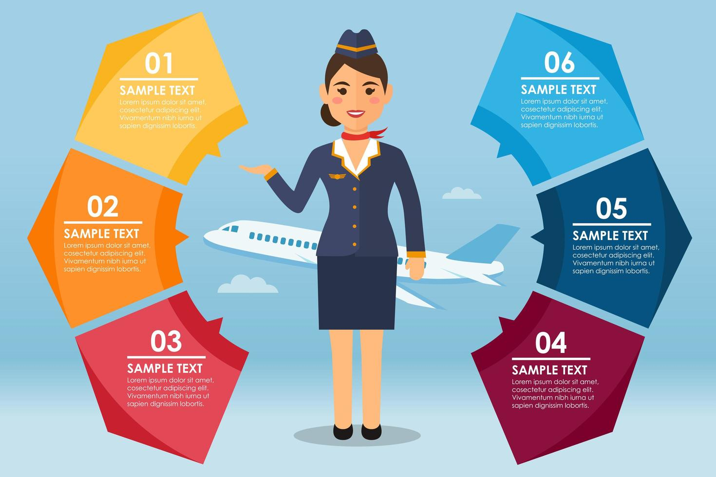 Stewardess round infographic vector