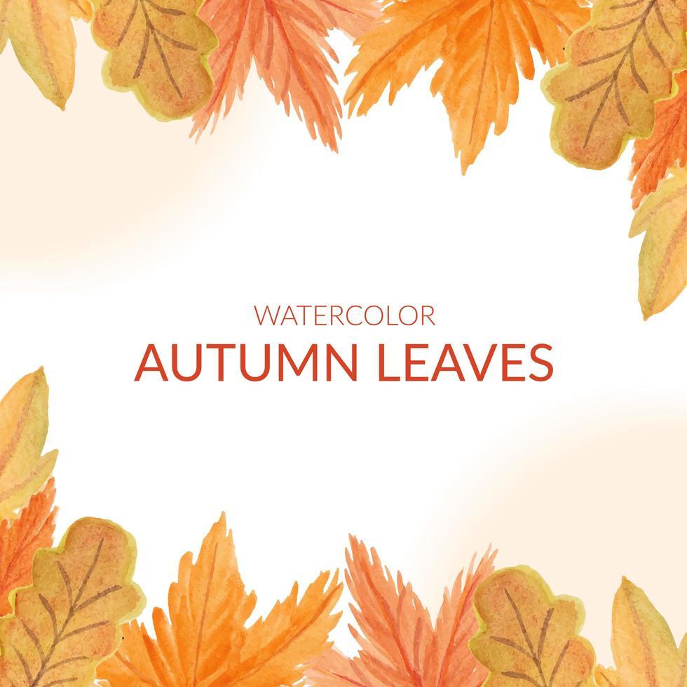 aquarel herfstblad grenskader vector