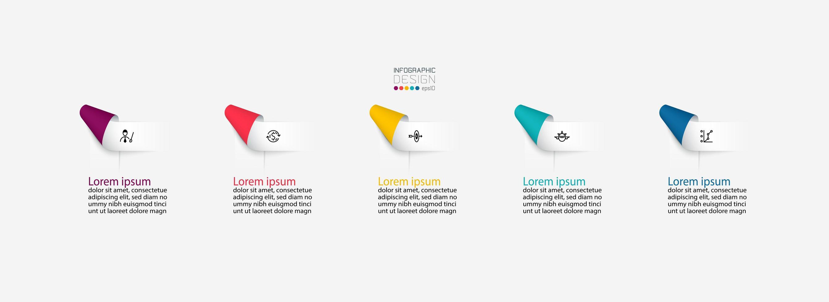 Infografía de etiquetas de cinta doblada vector
