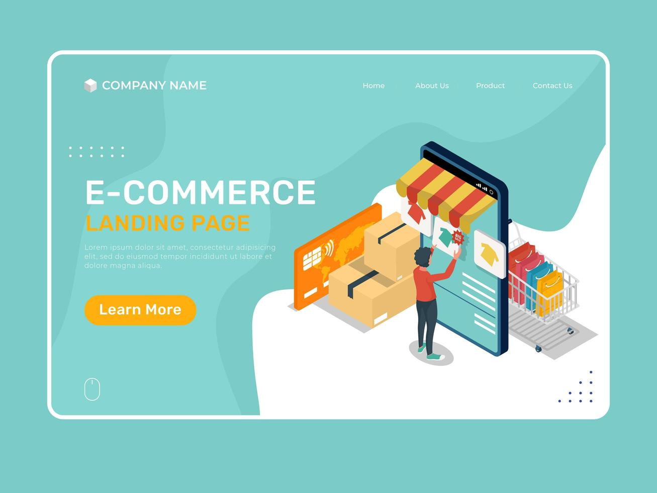 E-commerce landing page with isometric smartphone shopping design vector