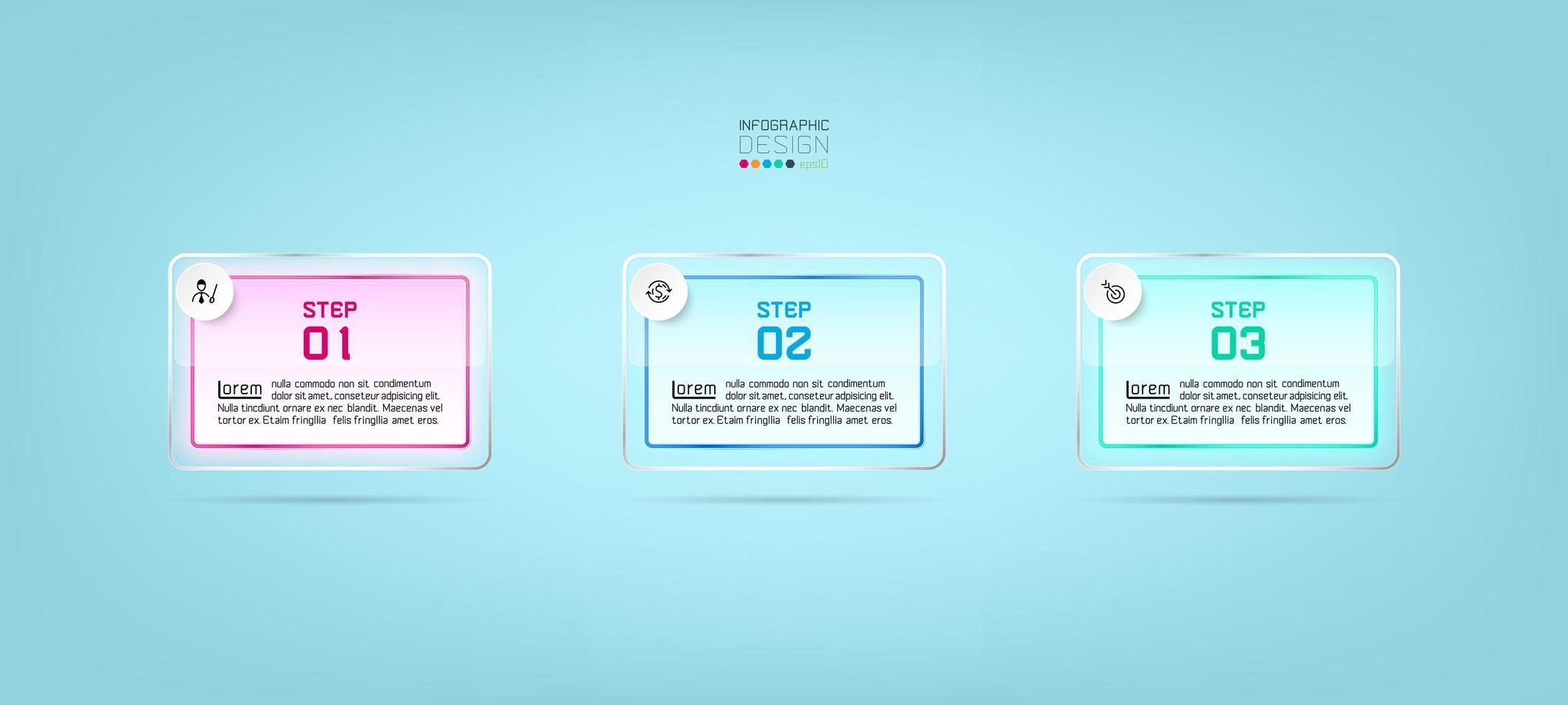 glazen rechthoeken, 3-stappen infographic sjabloonontwerp vector