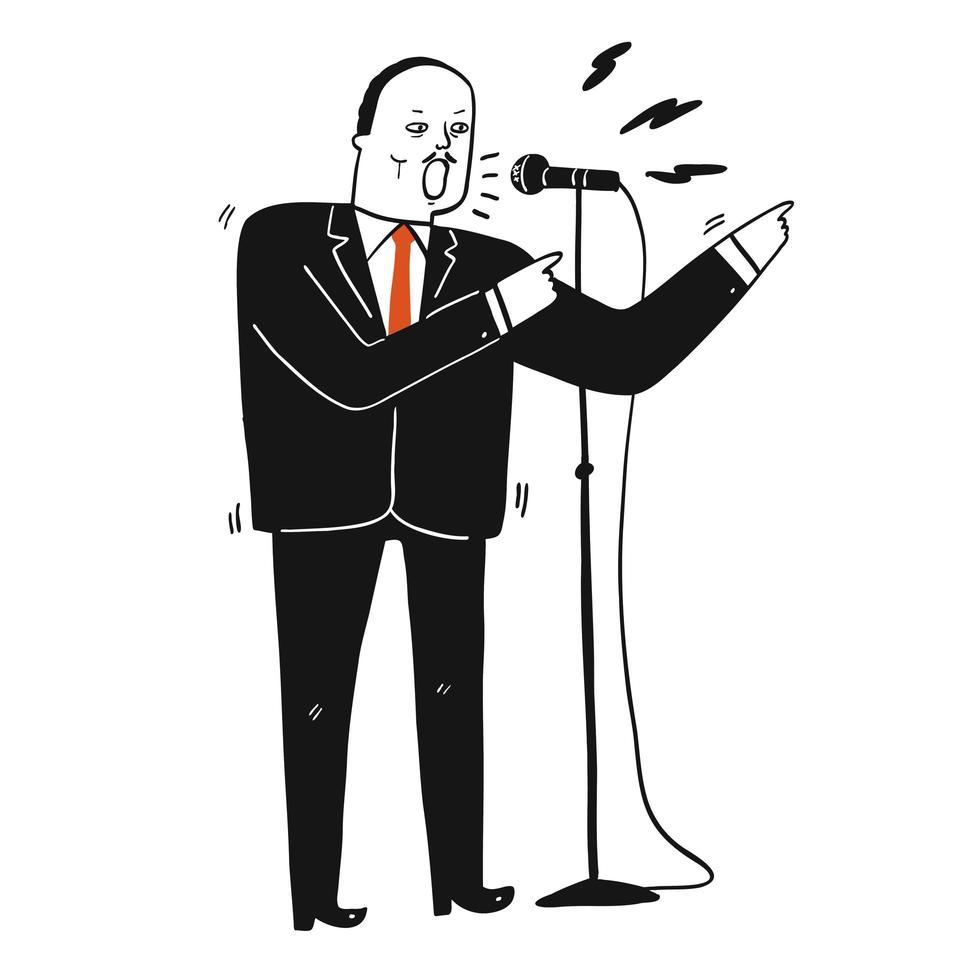 man in een zwart pak die een toespraak houdt vector