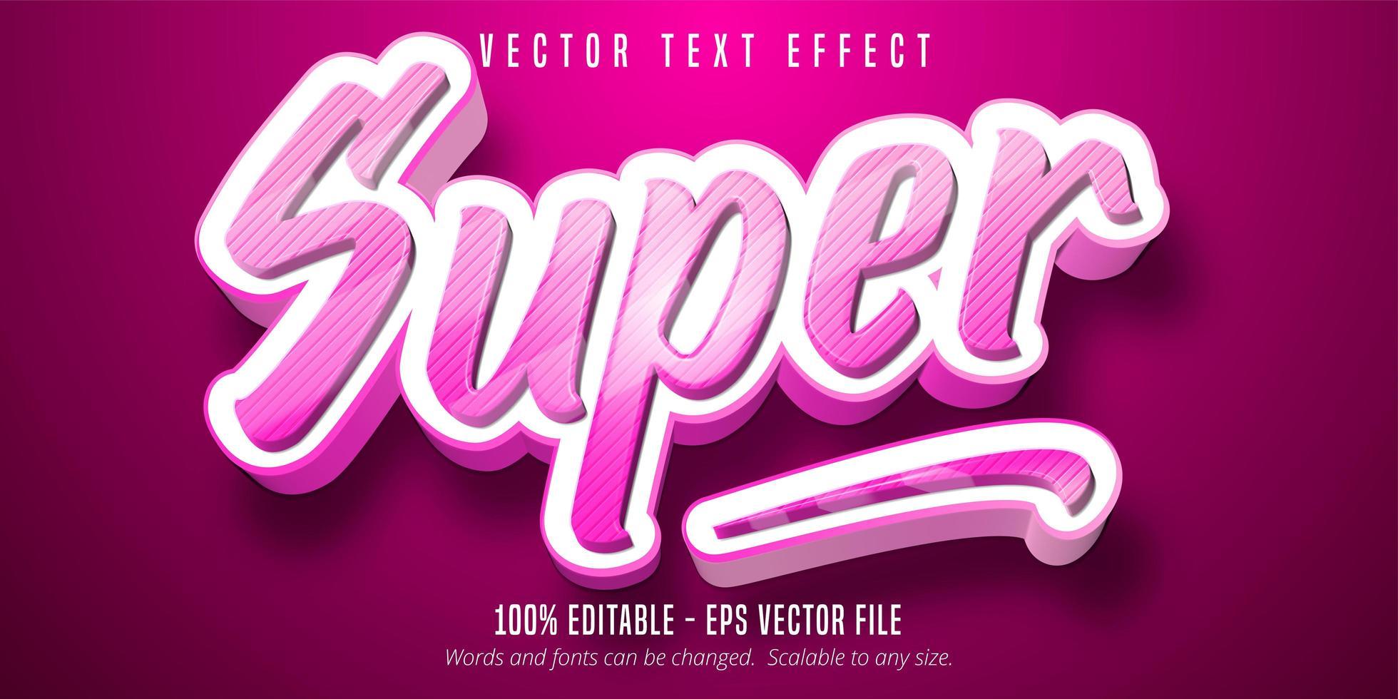 bearbeitbarer Texteffekt des rosa gestreiften Super-Cartoon-Stils vektor