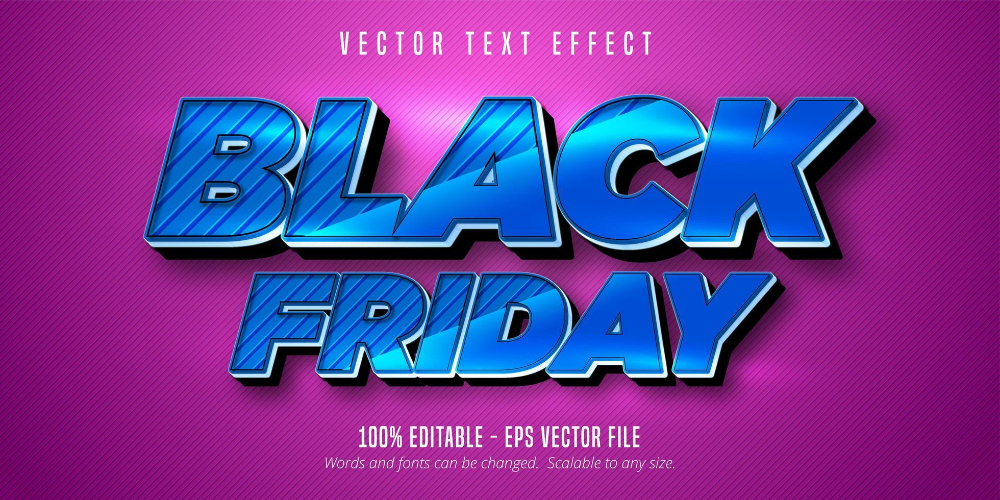metallic blauw zwart vrijdag bewerkbaar teksteffect vector