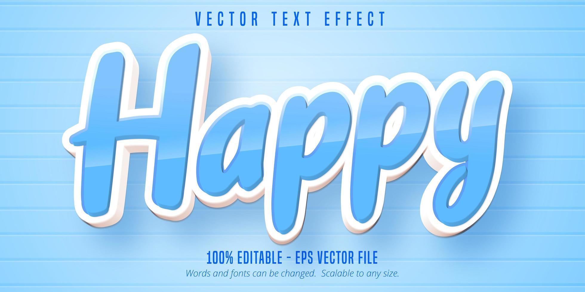 glanzend blauw happy cartoon-stijl bewerkbaar teksteffect vector