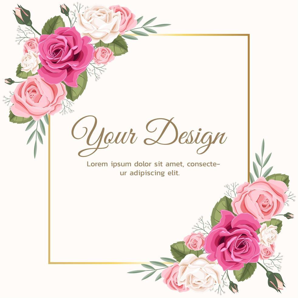 roze bloemen roos bruiloft uitnodiging vector