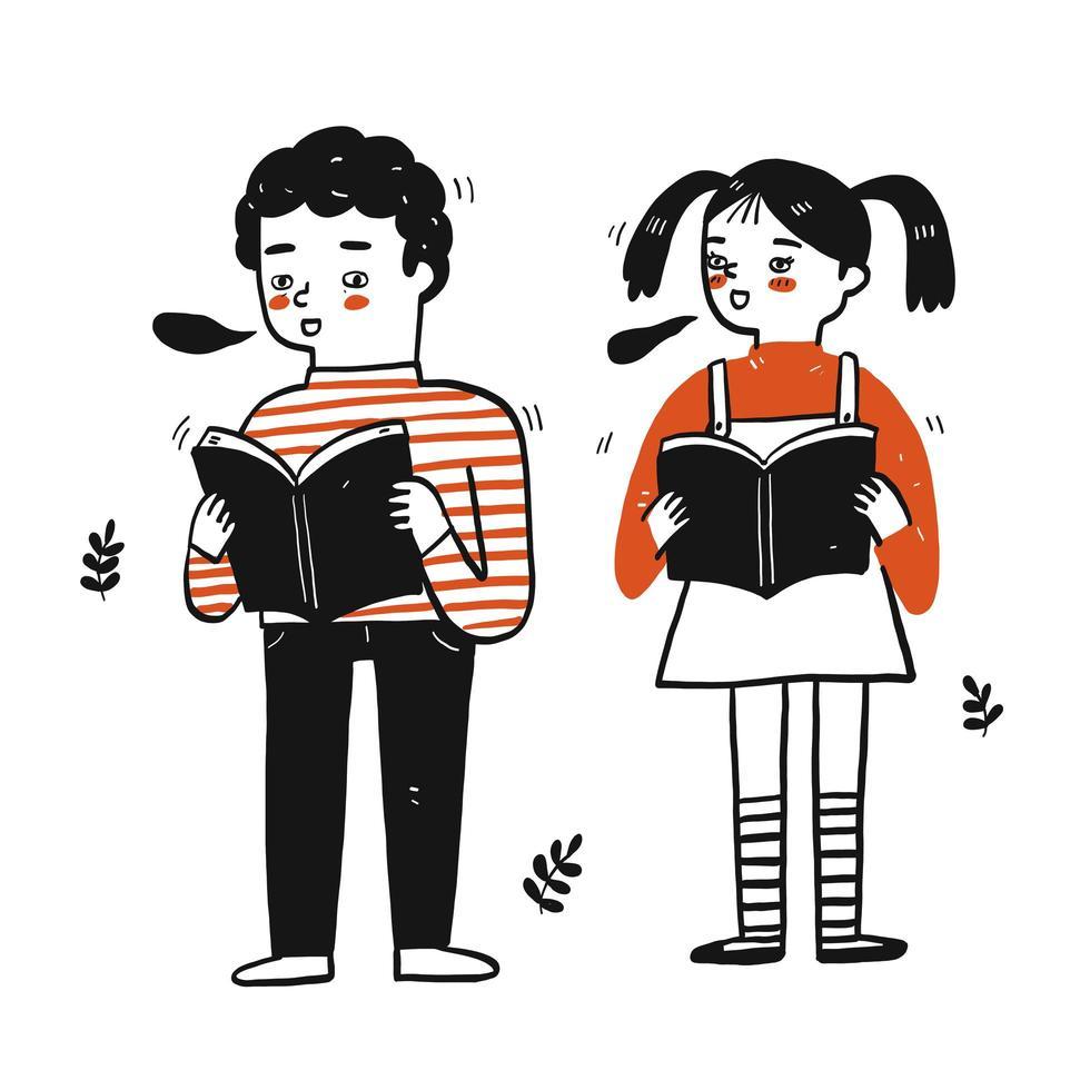 niños pequeños sosteniendo libros vector