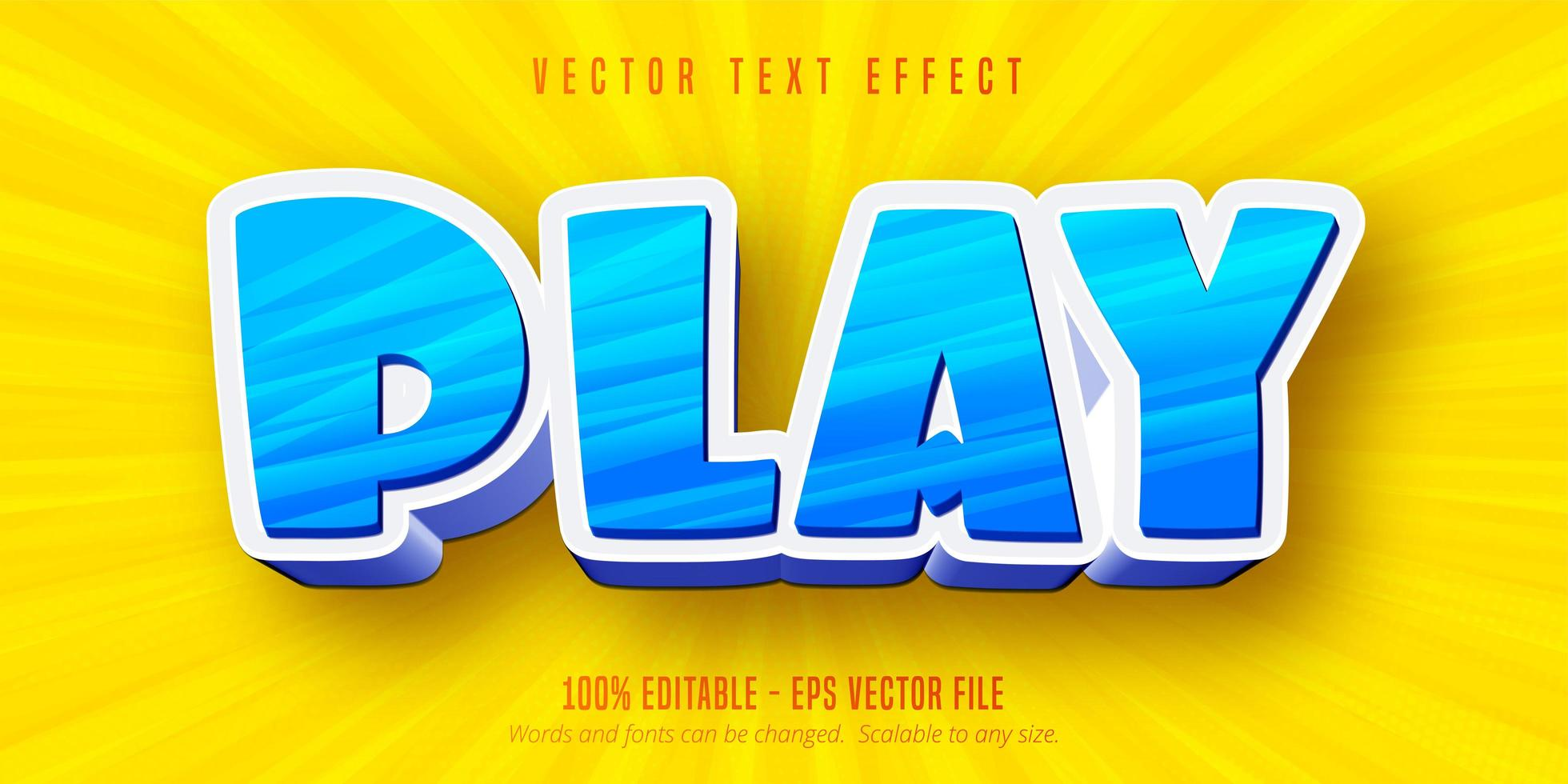 Blue and white play cartoon style editable text effect vector
