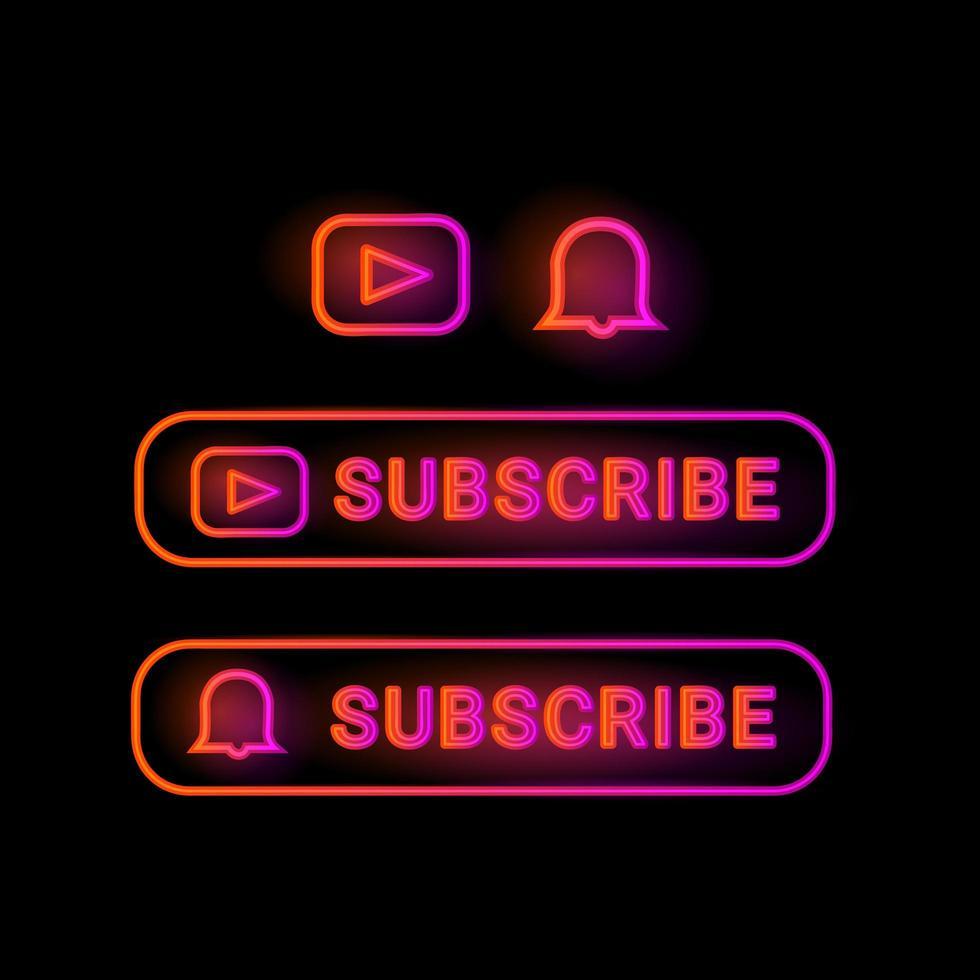 neon abonnieren button design kollektion vektor
