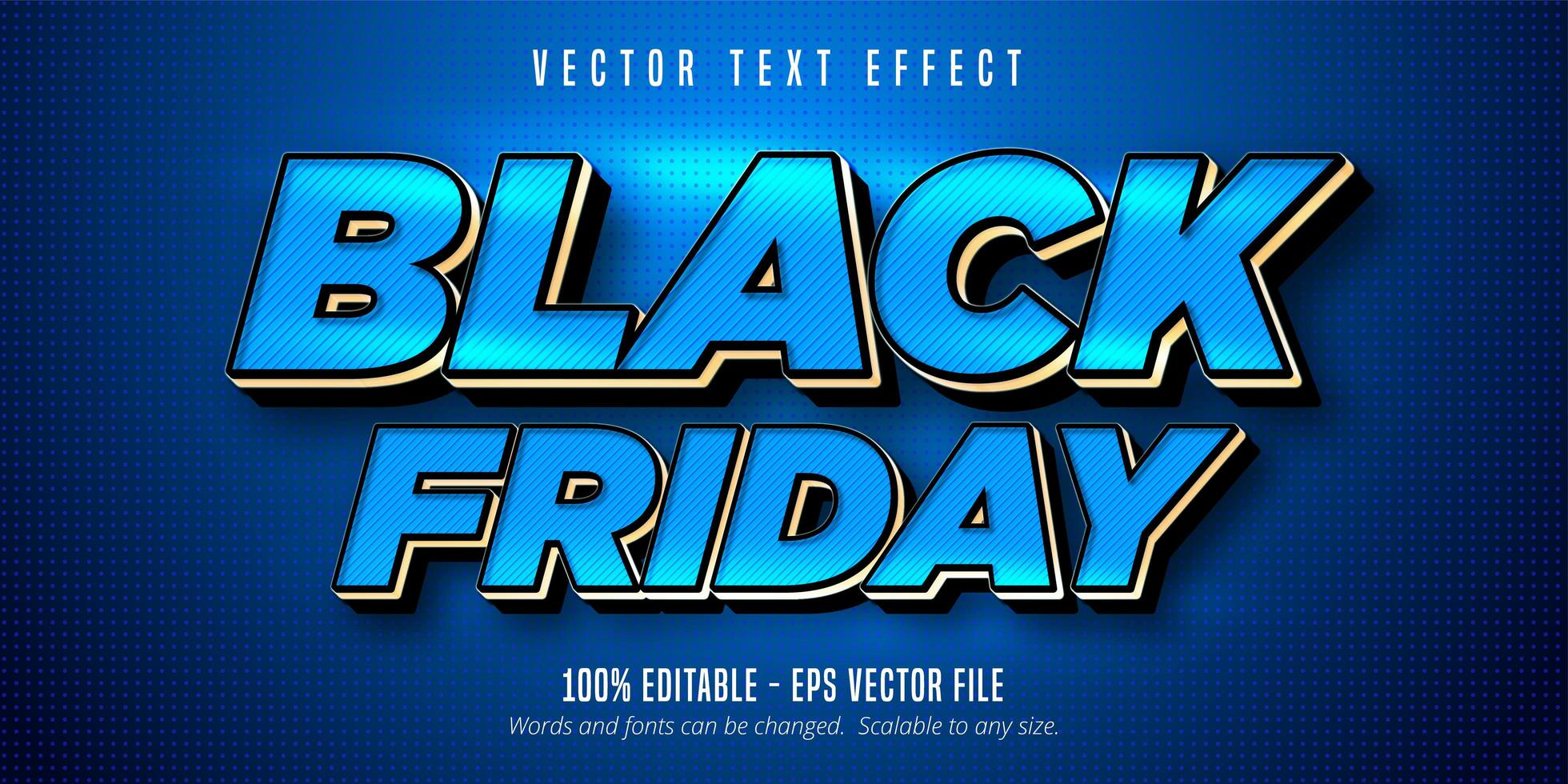 Striped Blue Black Friday editable text effect vector