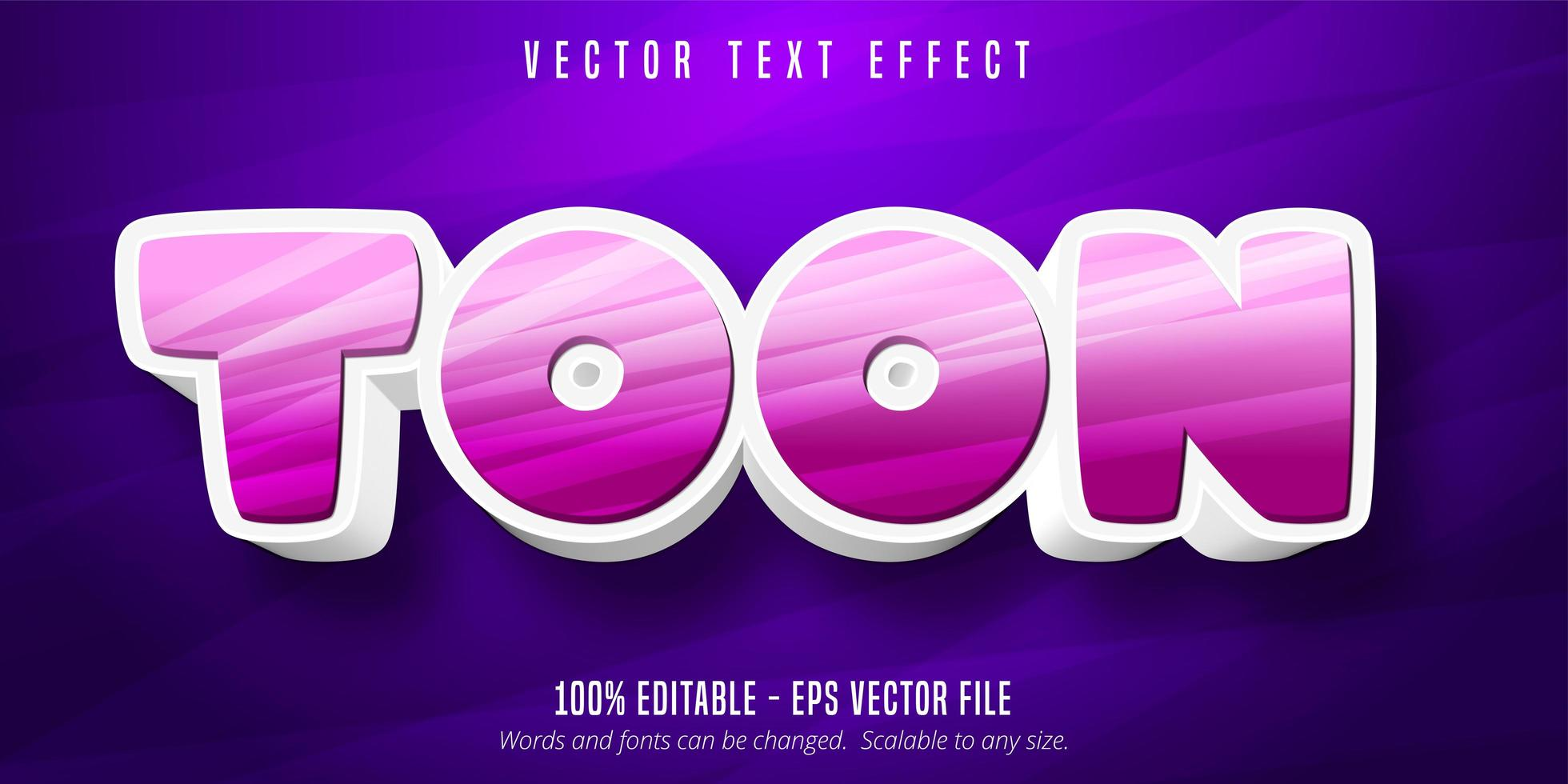 Pink and white toon cartoon style editable text effect vector
