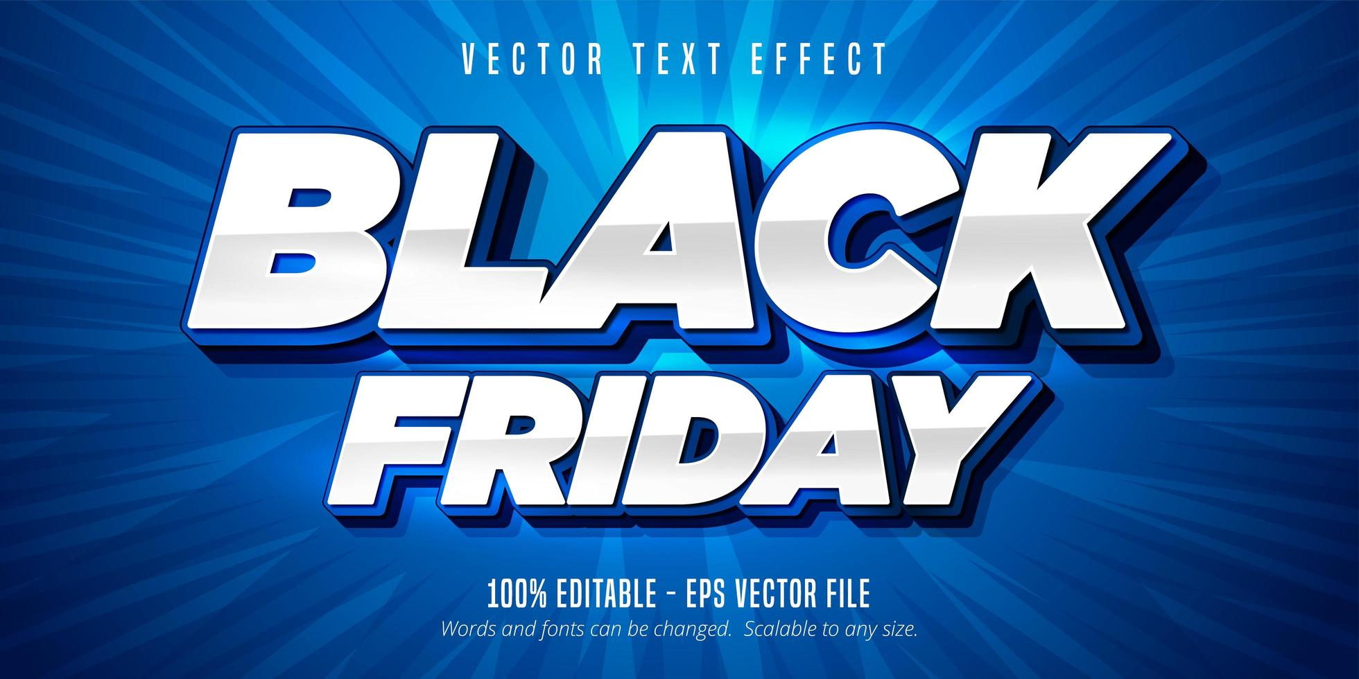 White and Blue Black friday text, editable text effect vector