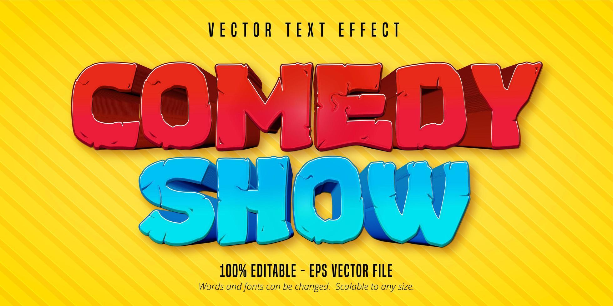 efecto de texto de estilo cómico de comedia roja y azul vector
