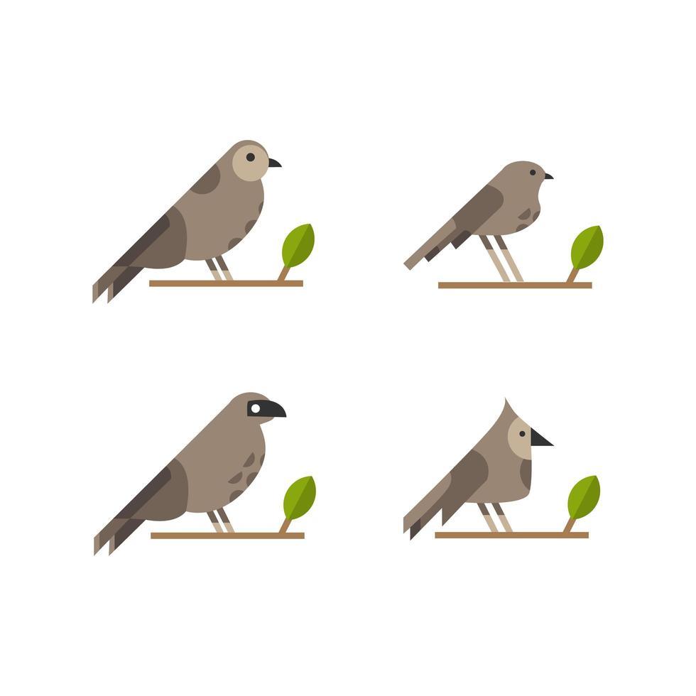 vogel- en bladcollectie vector
