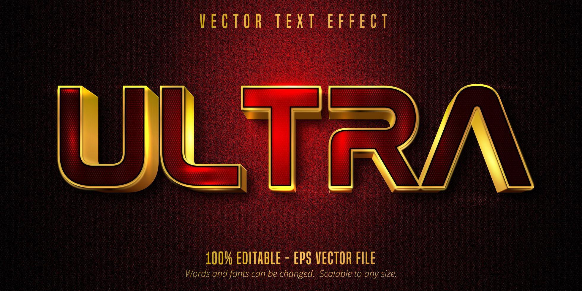 effet de texte modifiable ultra luxe rouge et or vecteur