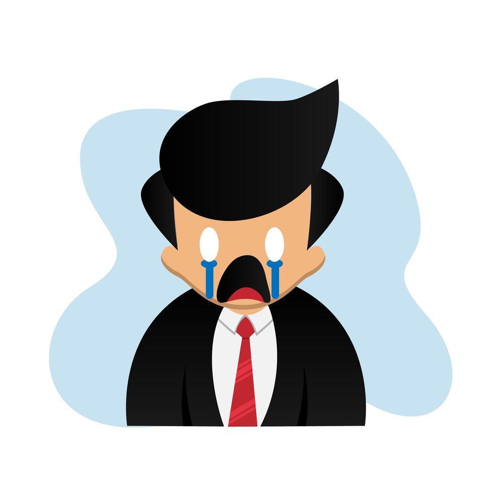 hombre de negocios de dibujos animados lindo con expresión de vector