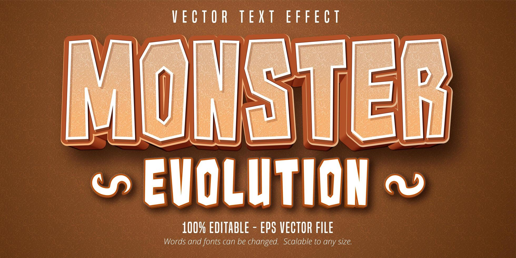 Monster evolution cartoon style editable text effect vector