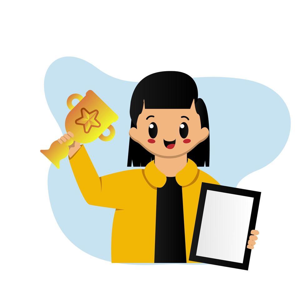 schattig meisje met trofee en certificaat vector