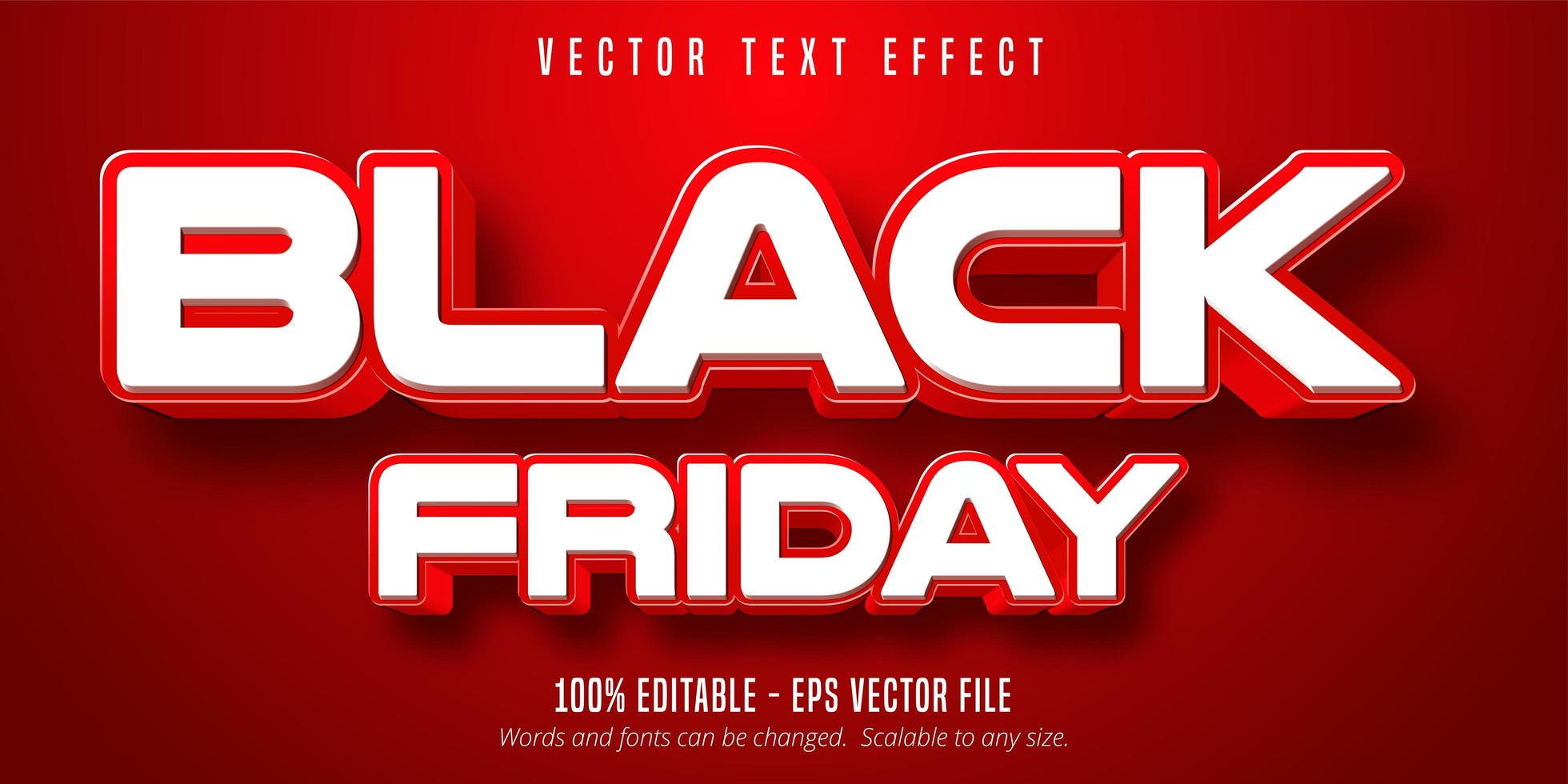 White and red Black Friday editable text effect vector