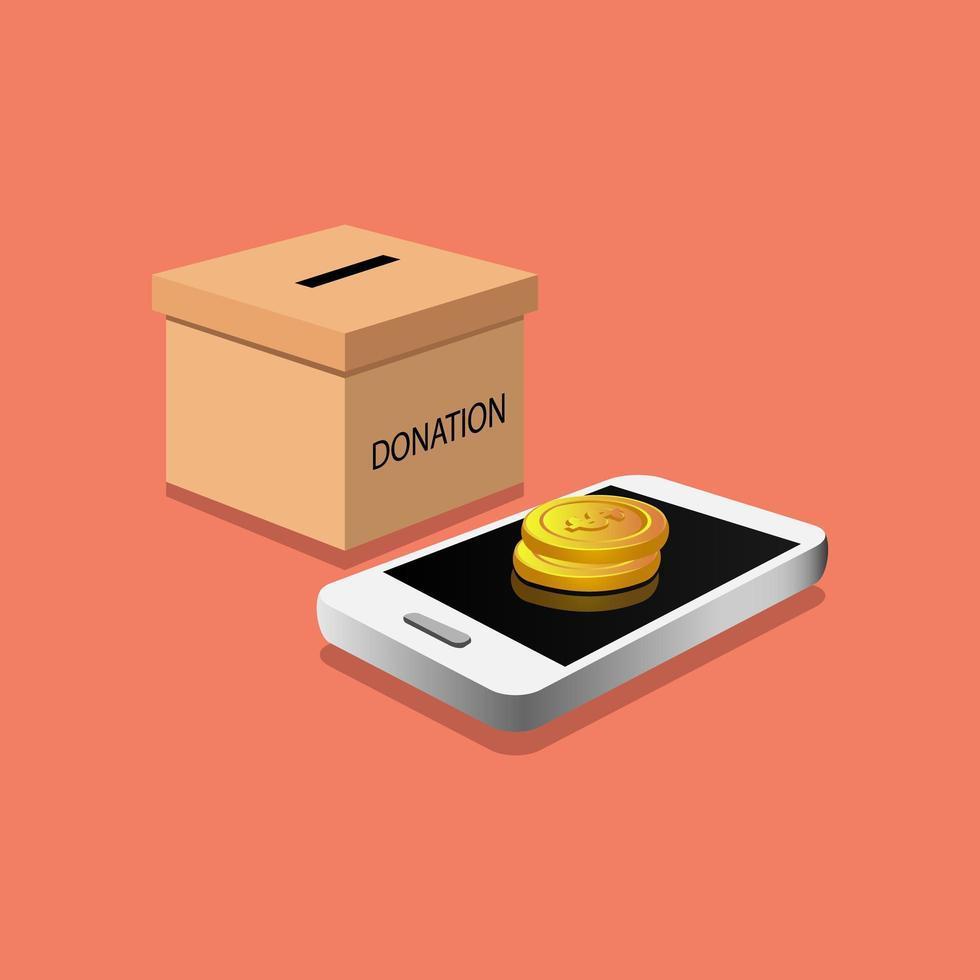 donatiebox met isometrisch ontwerp van de telefoon vector