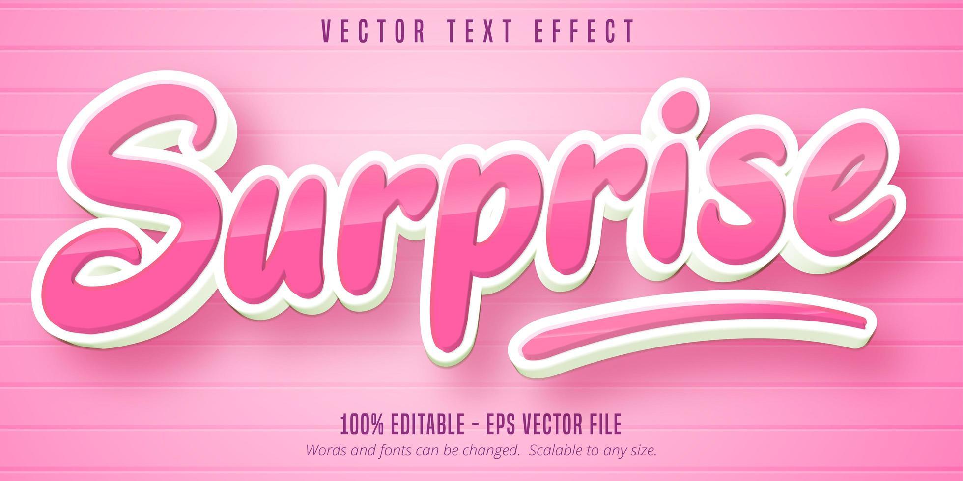 glanzend roze verrassing cartoon stijl bewerkbaar teksteffect vector