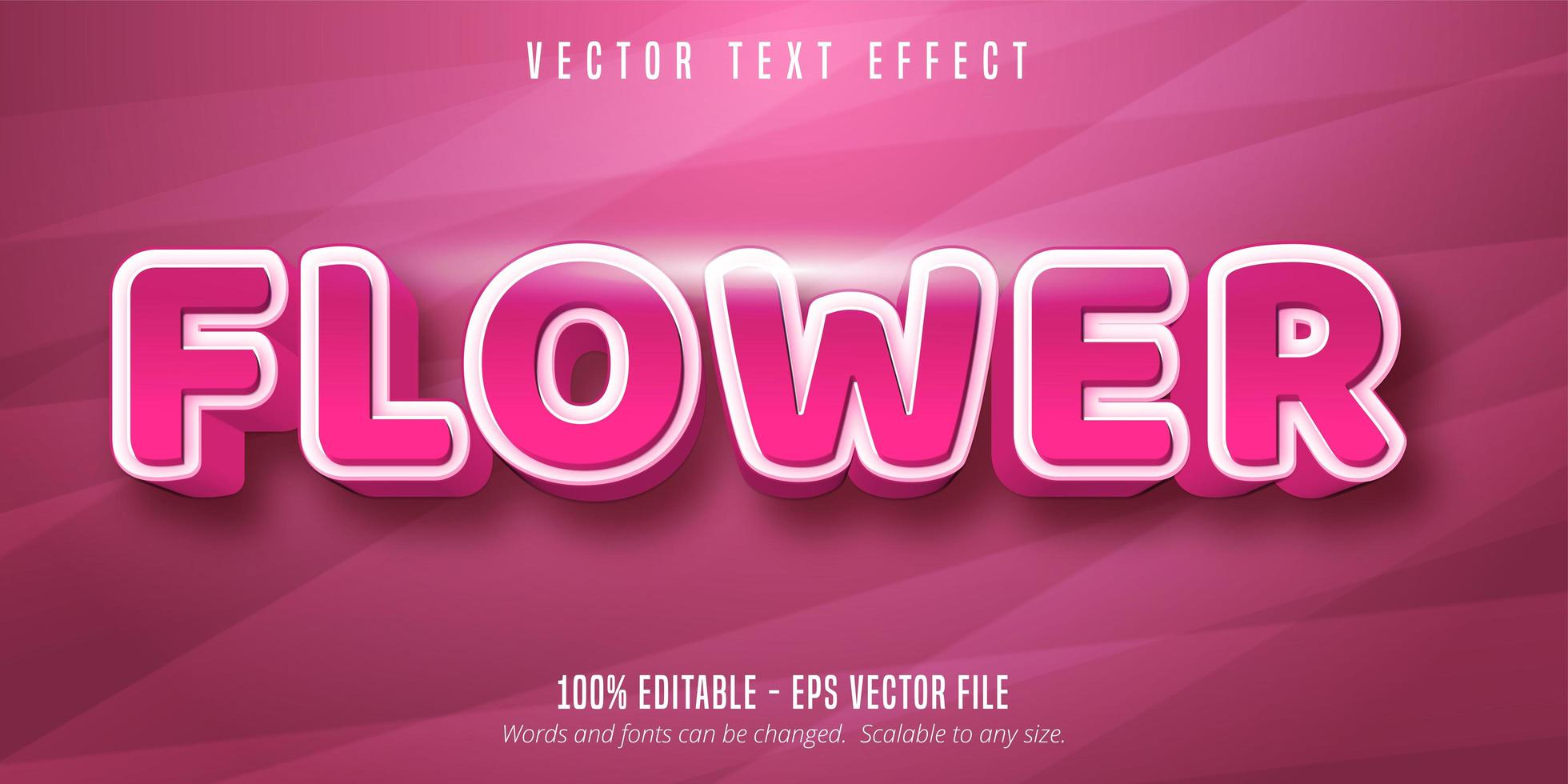 efecto de texto editable de color rosa flor vector