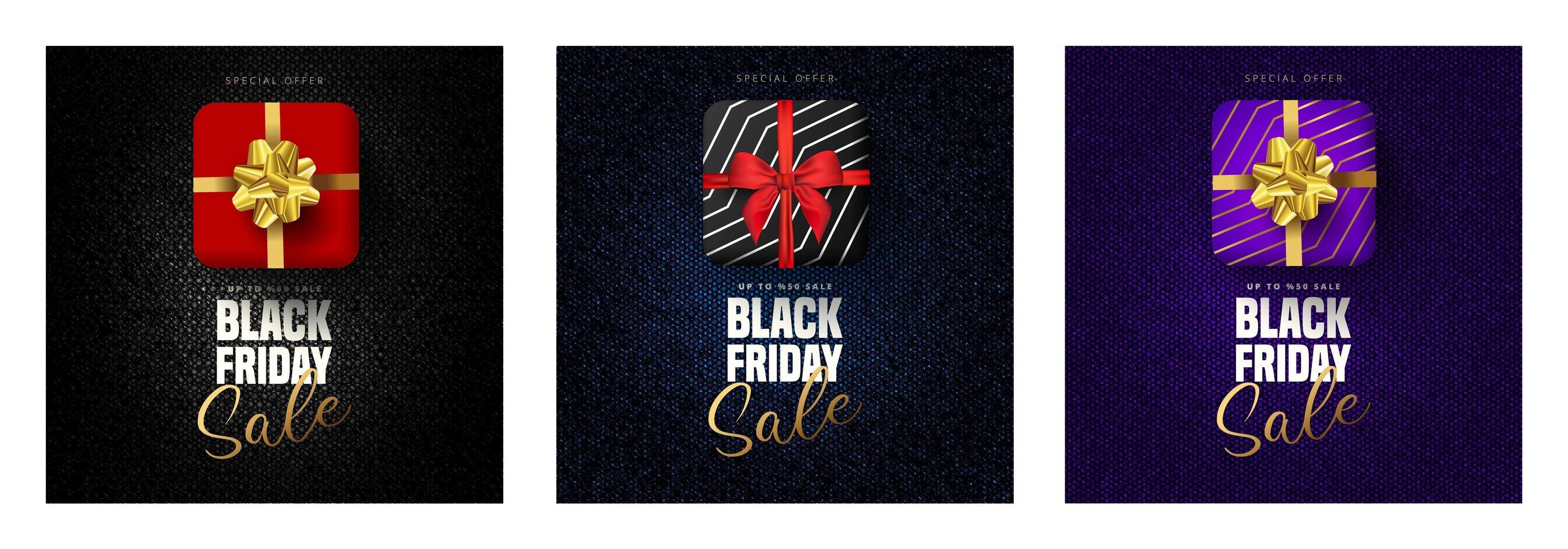zwarte vrijdag verkoop belettering, geschenkdozen in 3 kleuren vector