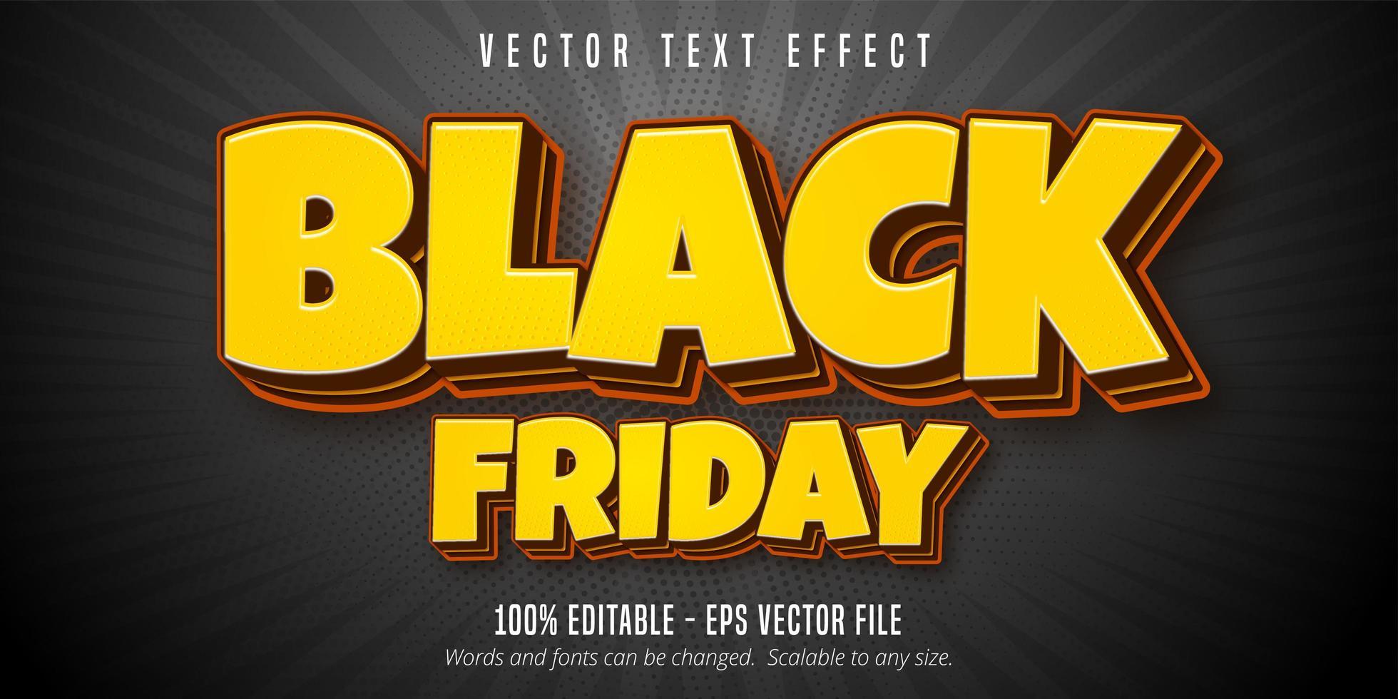 Yellow Black Friday editable text effect vector