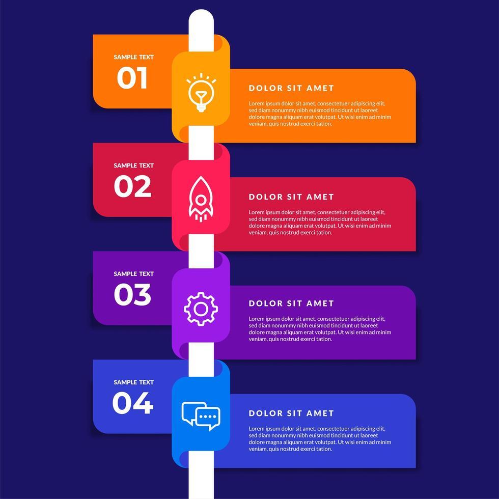 infografía de línea de tiempo de cinta colorida vector