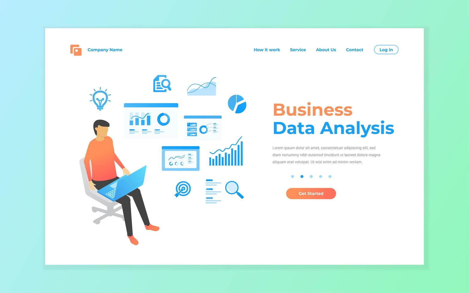 análise de dados de negócios para site e página de destino móvel vetor