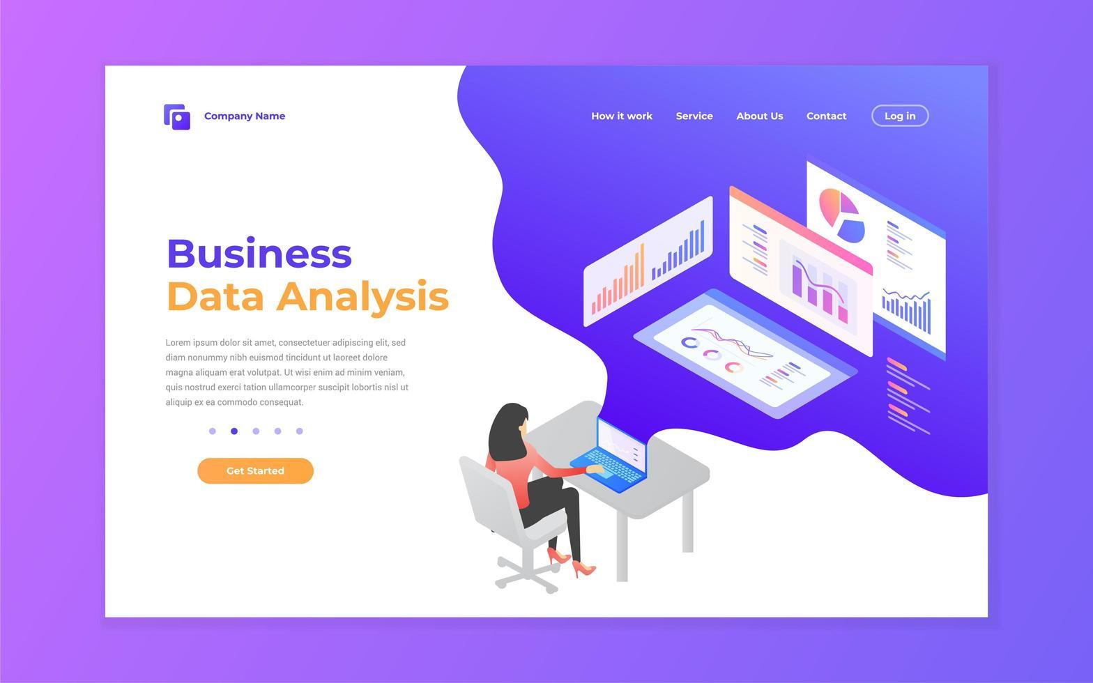 datos comerciales sitio web de anylsis y página de destino móvil vector