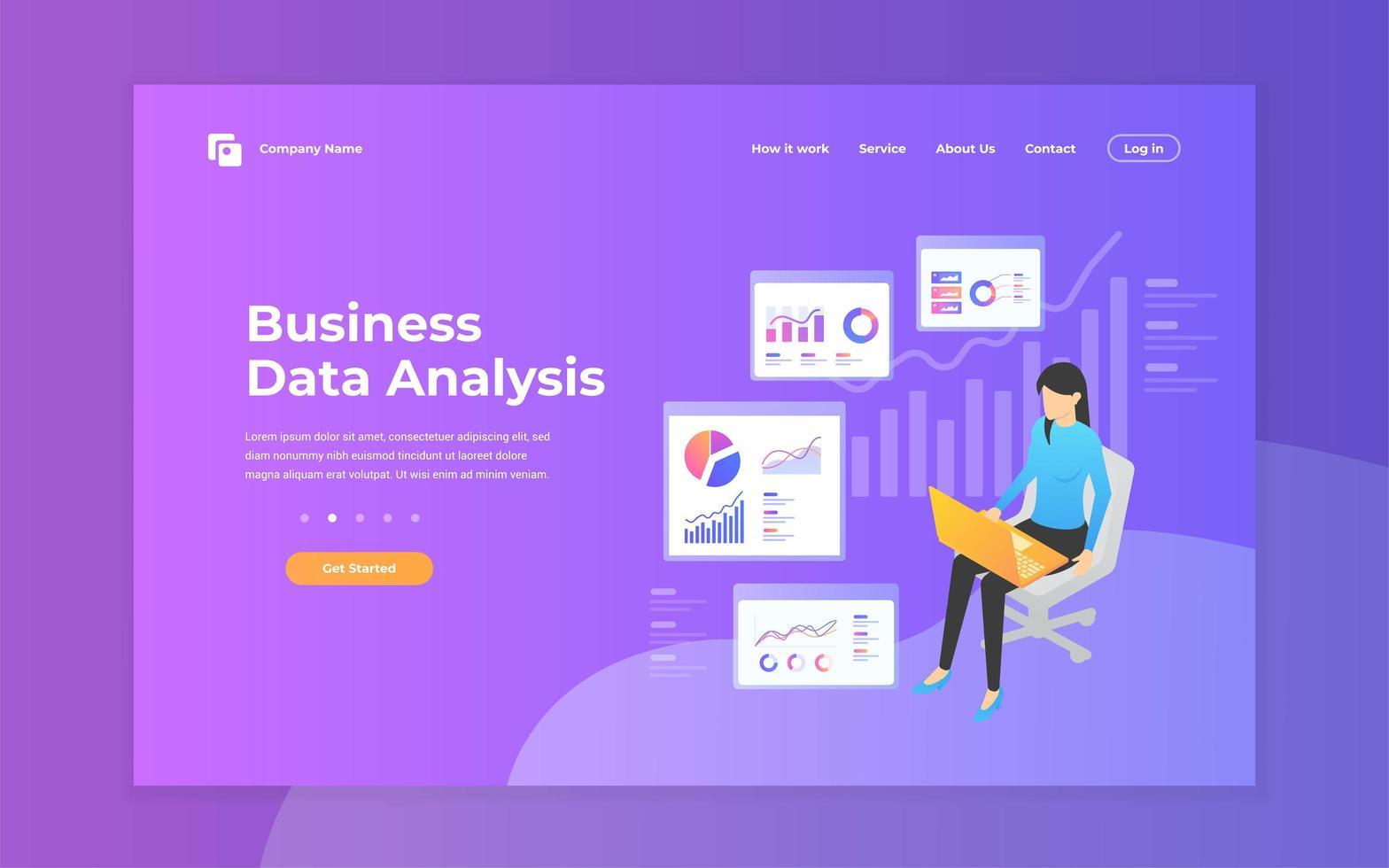 plantilla de diseño de página de destino de análisis de datos comerciales vector