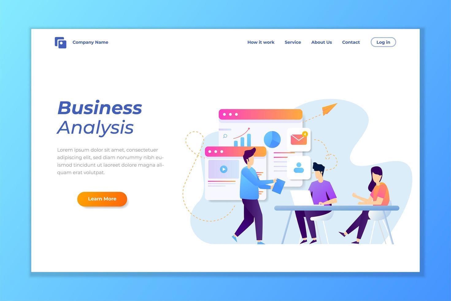 página de inicio de análisis de datos comerciales vector