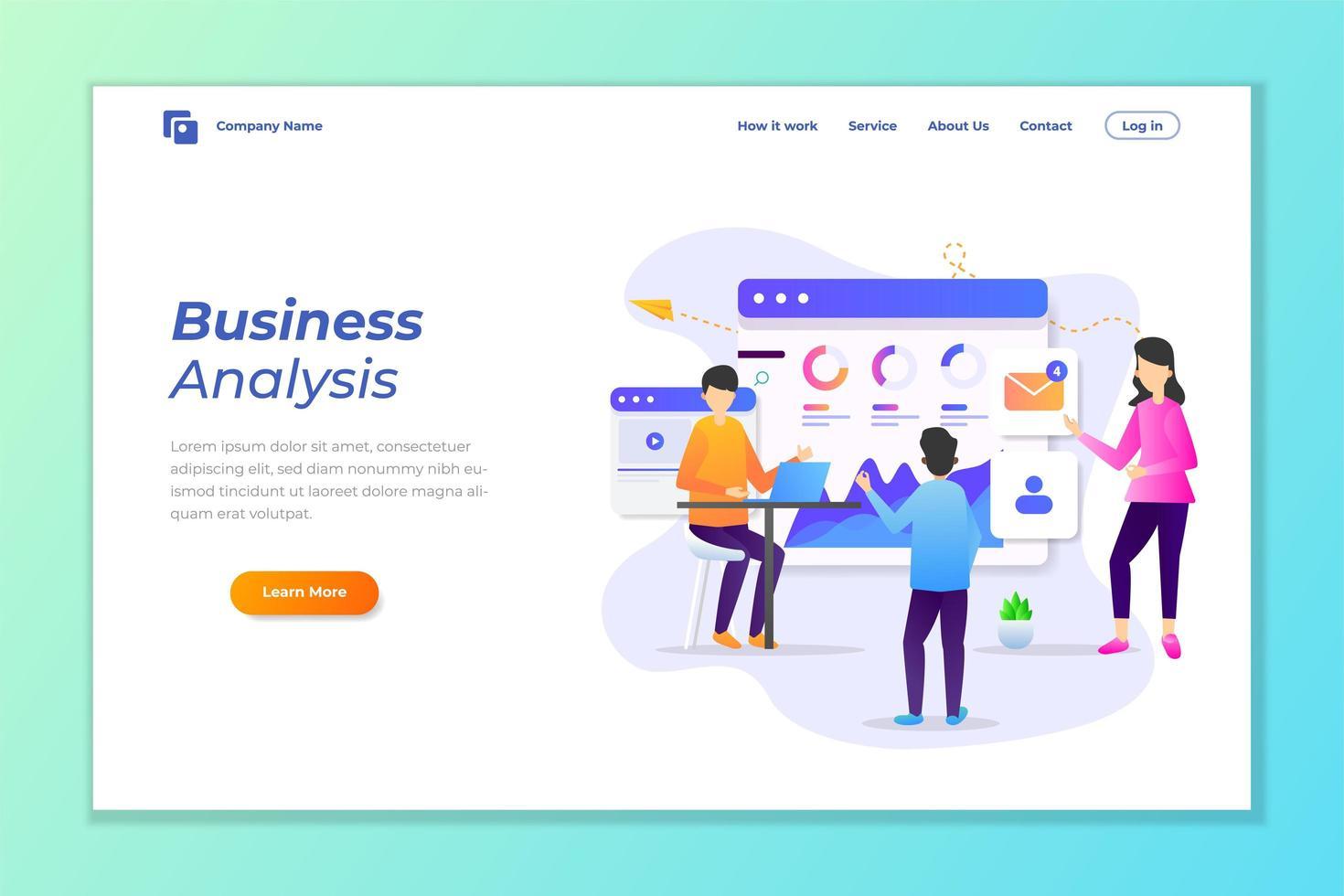 analyse van bedrijfsgegevens, bestemmingspagina voor digitale marketing vector