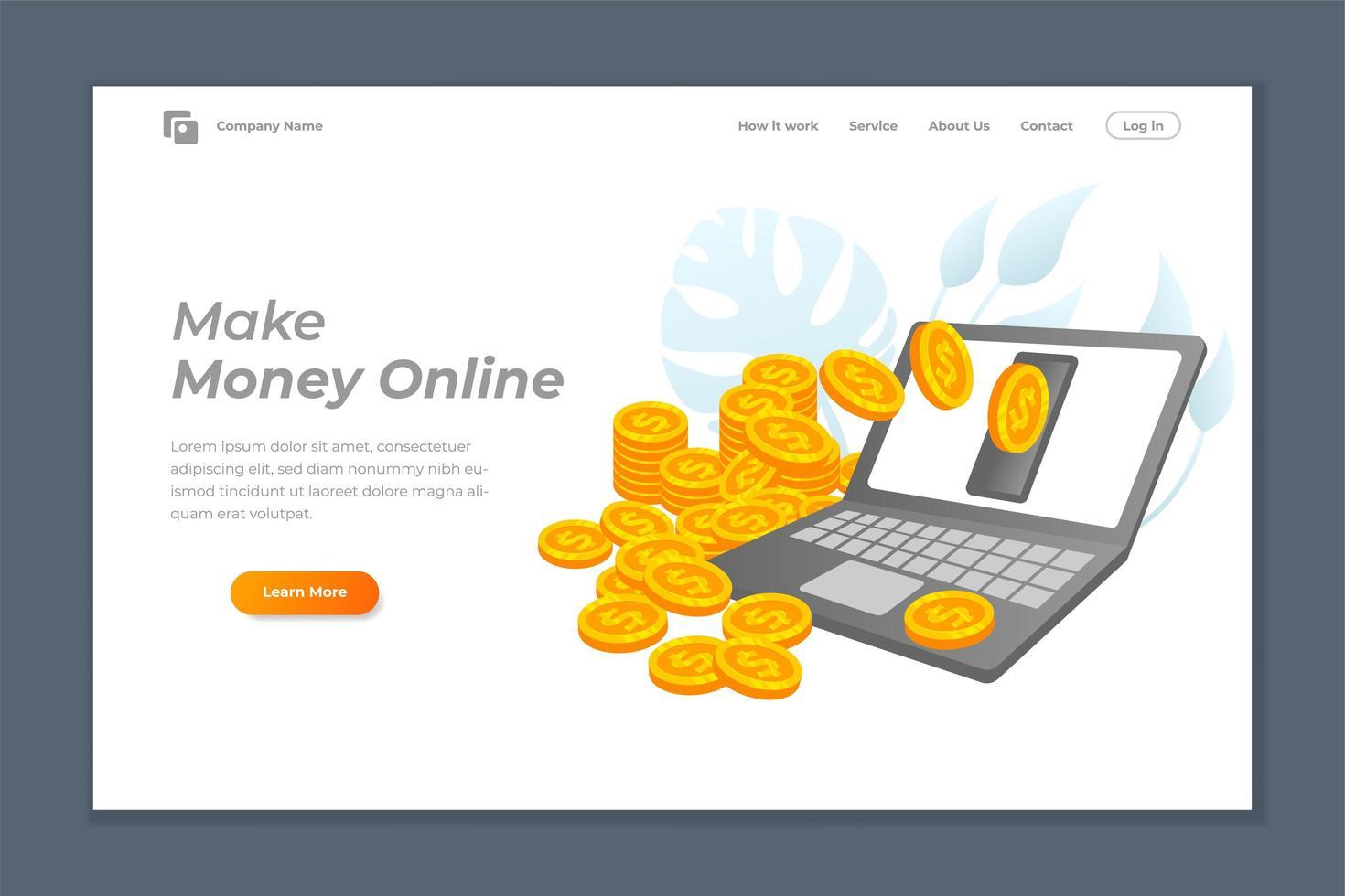 ganar dinero en línea banner o página de destino vector