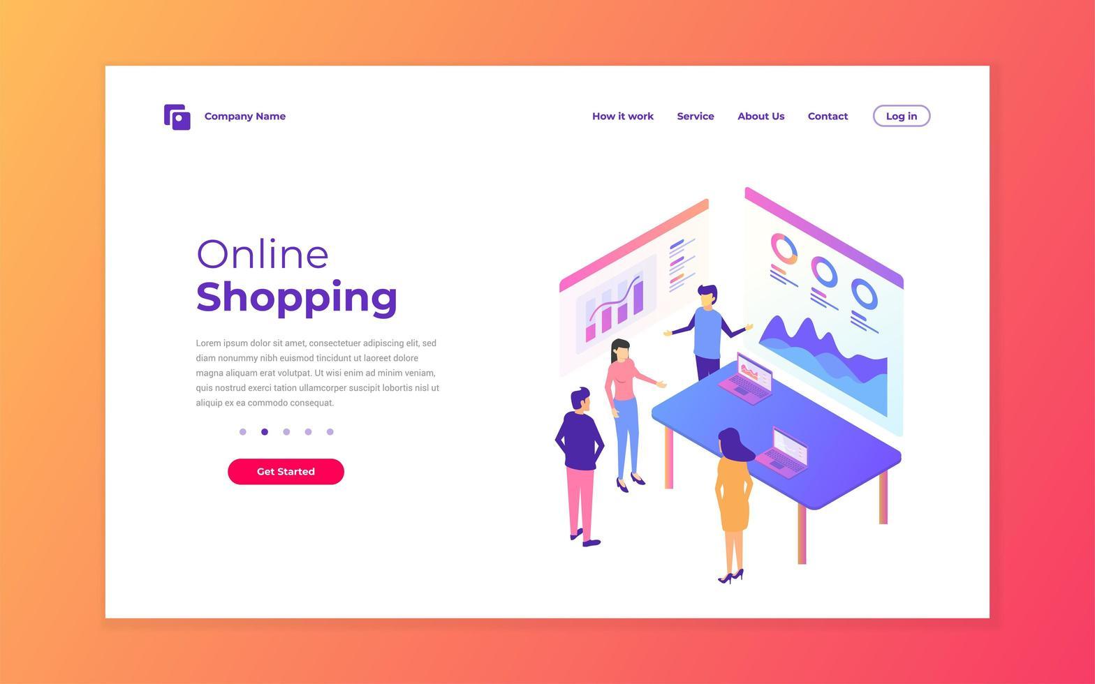 diseño de página de destino de negocios de compras en línea vector