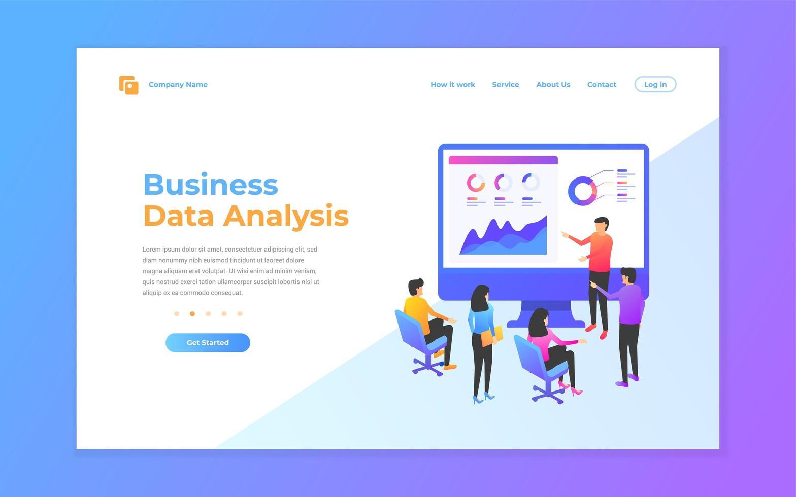 Plantillas de diseño de páginas web para análisis de datos. vector