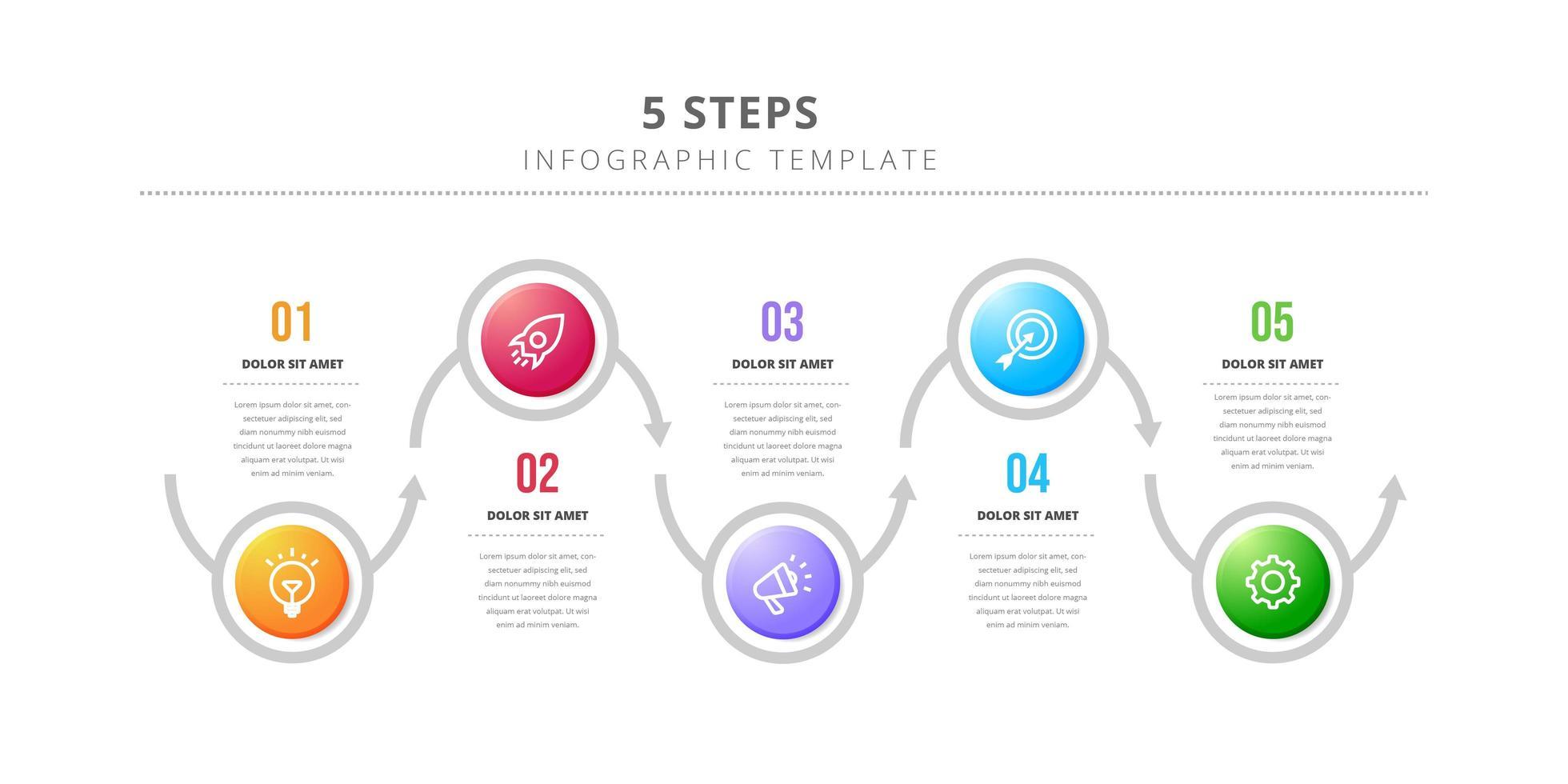Plantilla de diseño infográfico circular con 5 pasos. vector