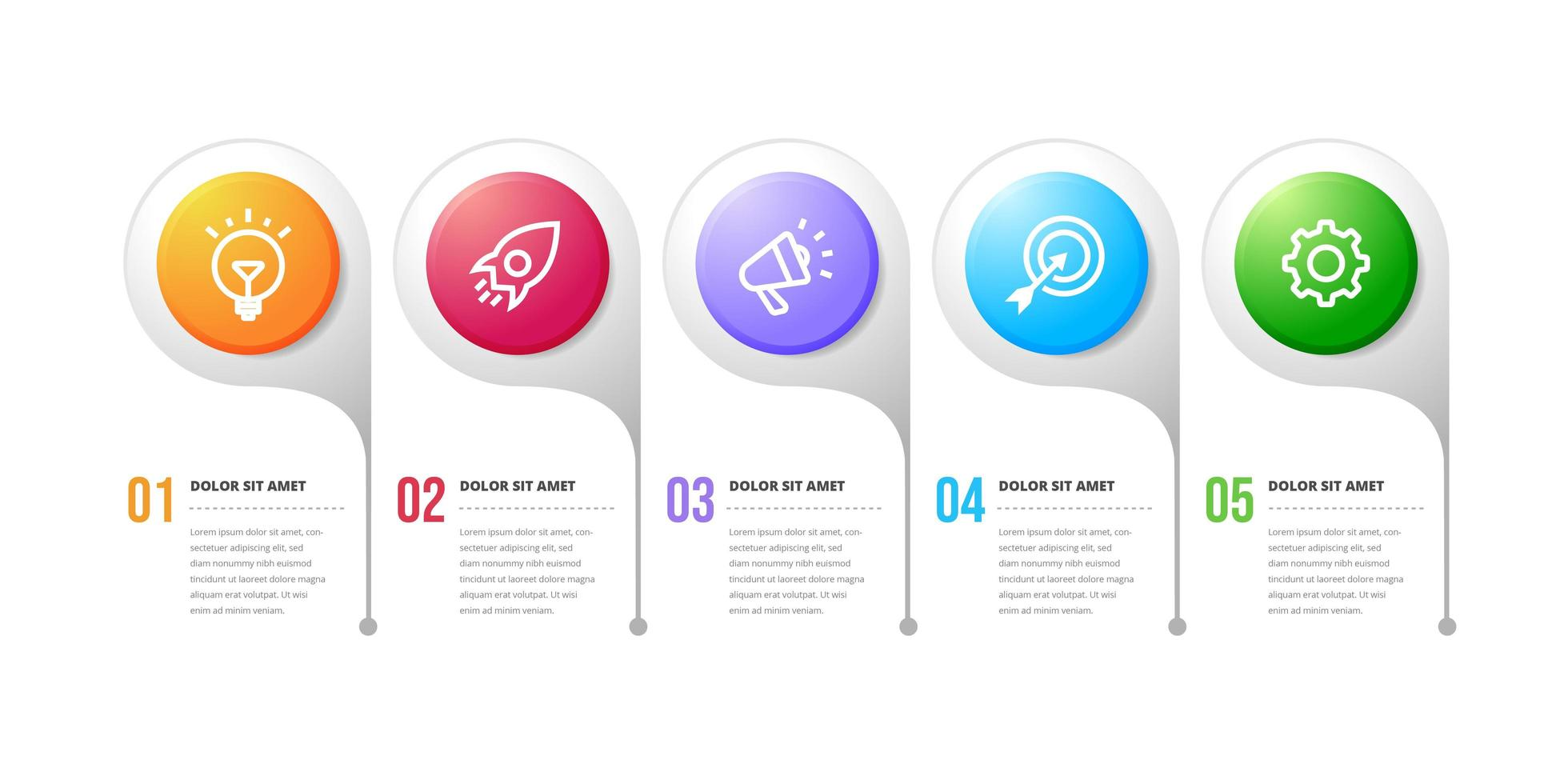 diseño infográfico de flujo de trabajo de cinco opciones vector