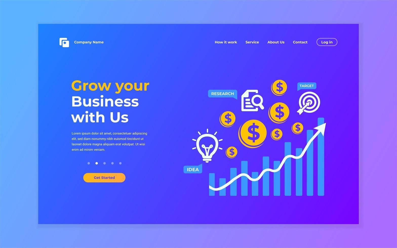 página de inicio de crecimiento empresarial azul y púrpura vector