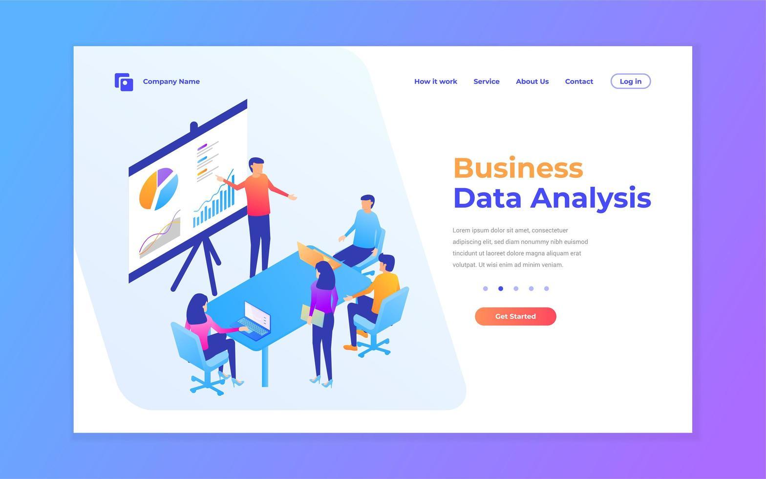 página de inicio de negocios de análisis de datos modernos vector