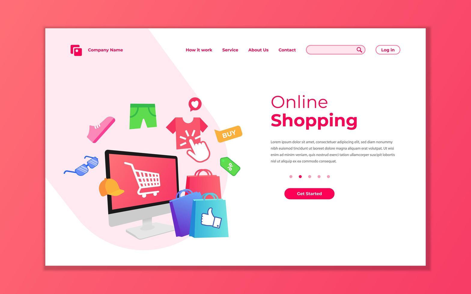 modèle de page de destination de boutique en ligne vecteur